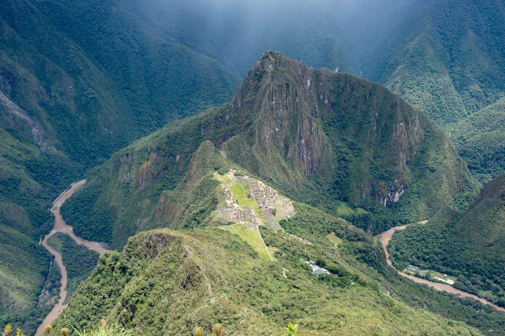 Vue depuis le sommet de la montagne Machu Picchu